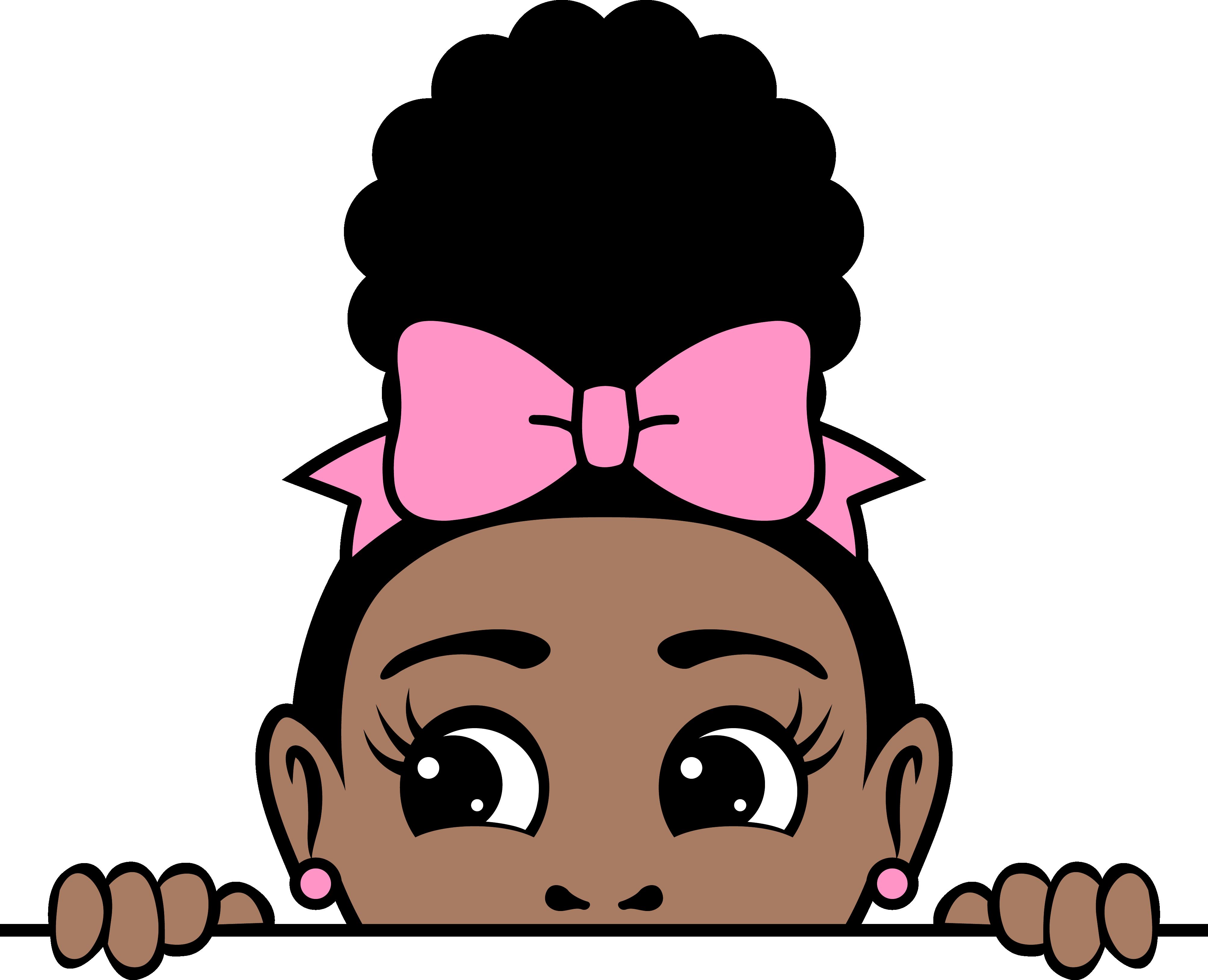 Afro puff bow girl peekaboo 3