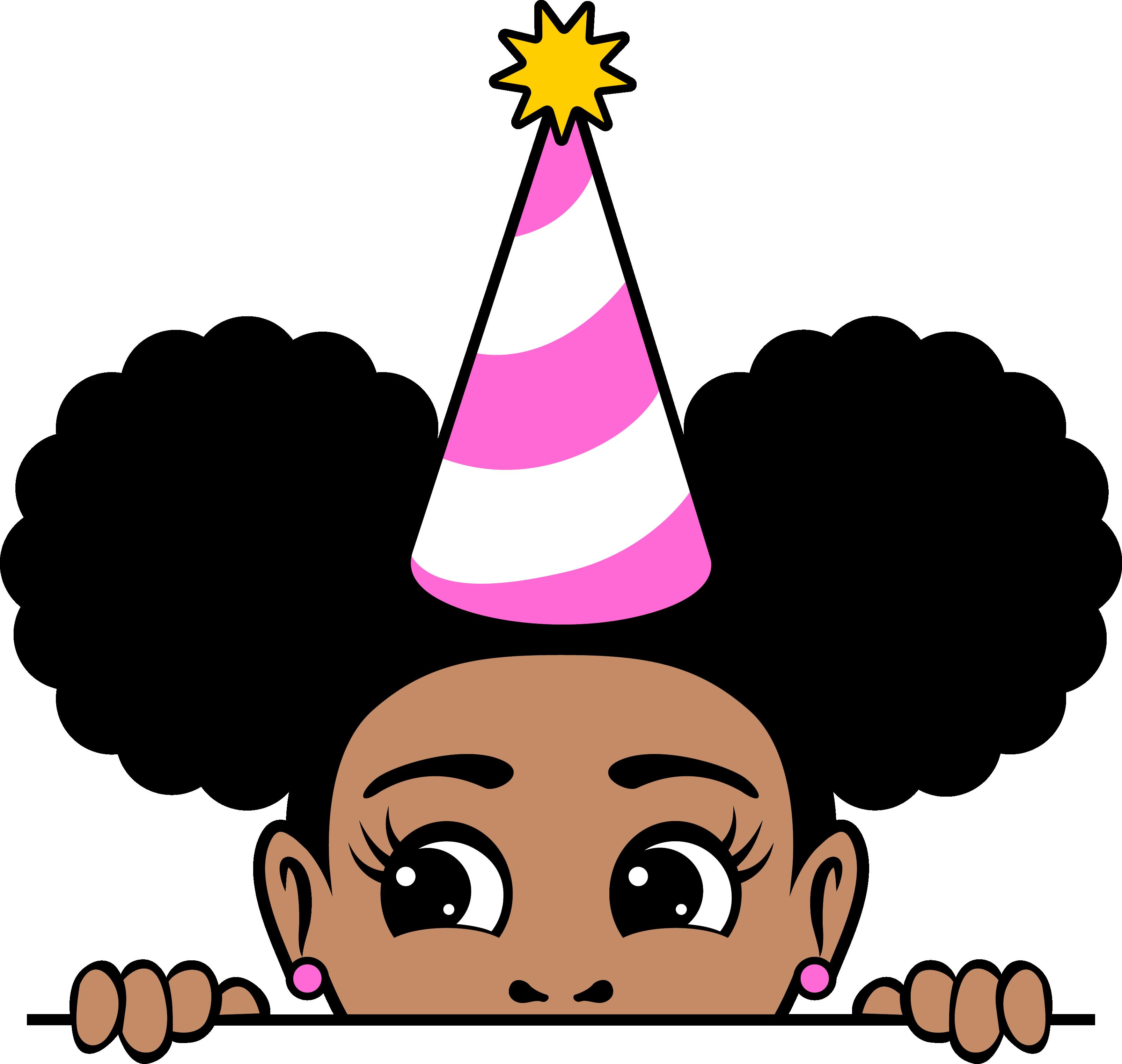 Peekaboo afro puffs birthday girl 10