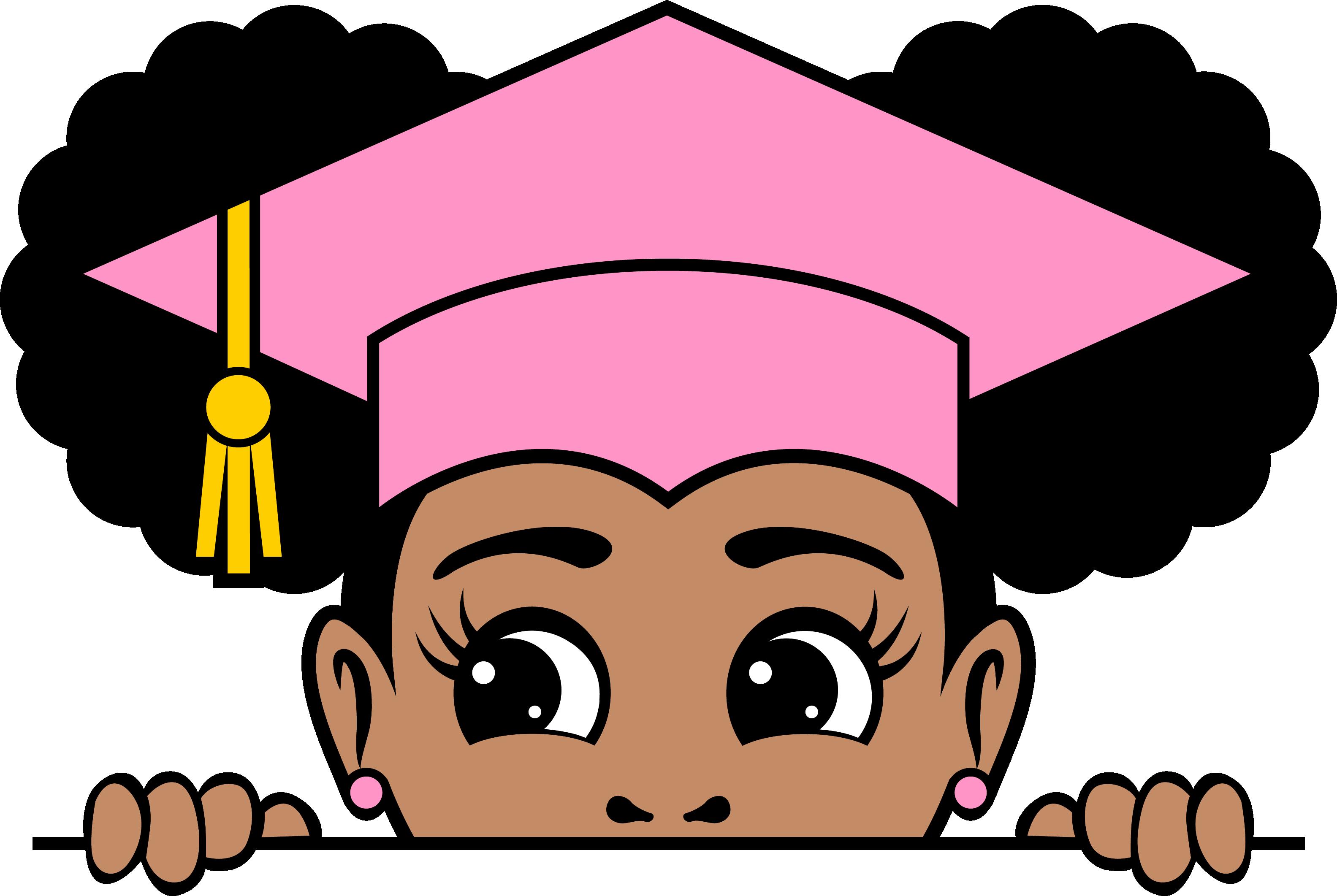 Peekaboo afro puffs grad girl 11