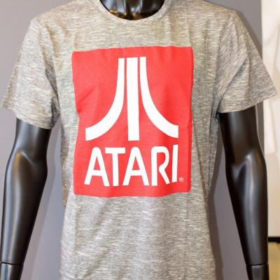 Atari t shirt red logo grey