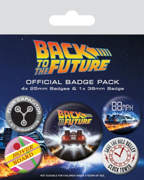 Back to the future pack 5 badges delorean
