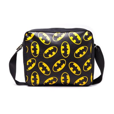 Batman black messenger bag front allover classic logo