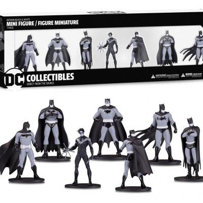 Batman black white pack 7 figurines pvc box set 1 10cm
