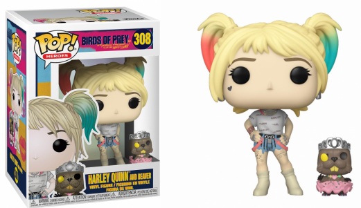 Birds of prey bobble head pop n 308 harley quinn w beaver