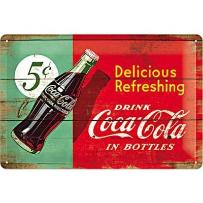 Coca cola 1950 beverage plaque metal 20x30cm
