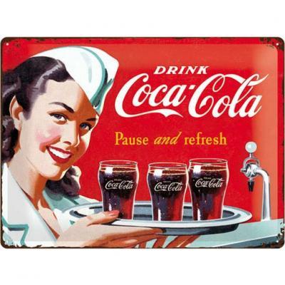 Coca cola 1960 waitress plaque metal 30x40cm