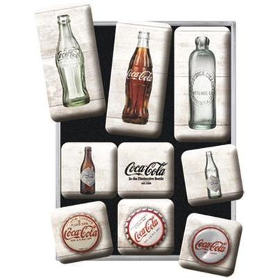 Coca cola bottle timeline set de 9 magnets