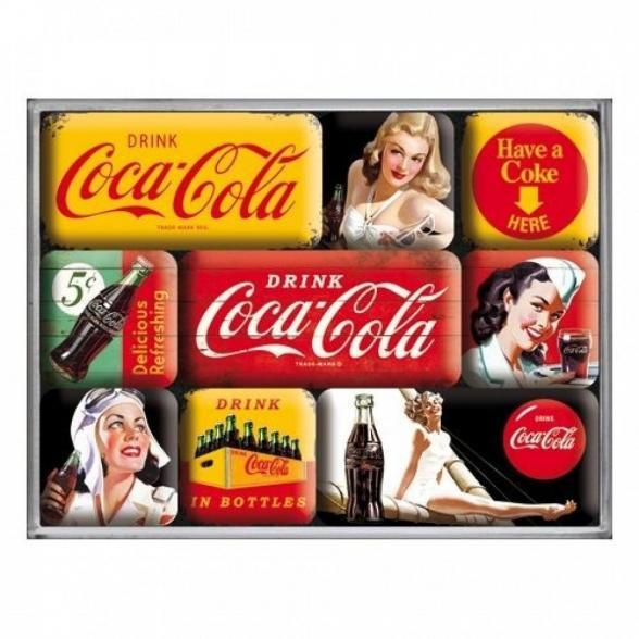 Coca cola yellow mix set de 9 magnets