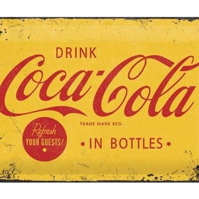 Coca cola yellow plaque metal 20x30cm