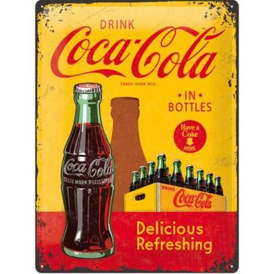 Coca cola yellow plaque metal 30x40cm