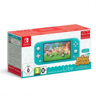 Console switch lite bundle animal crossing turquoise