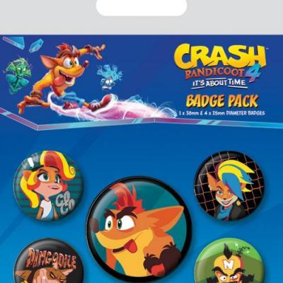 Crash bandicoot 4 pack de 5 badges