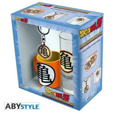 Dargon ball coffret verre porte cles mini mug kame symbol