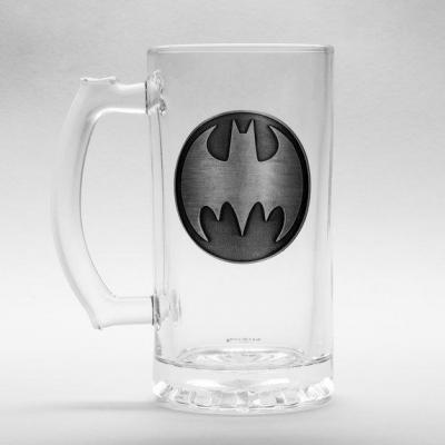 Dc comics beer glass 500ml metal badge batman logo
