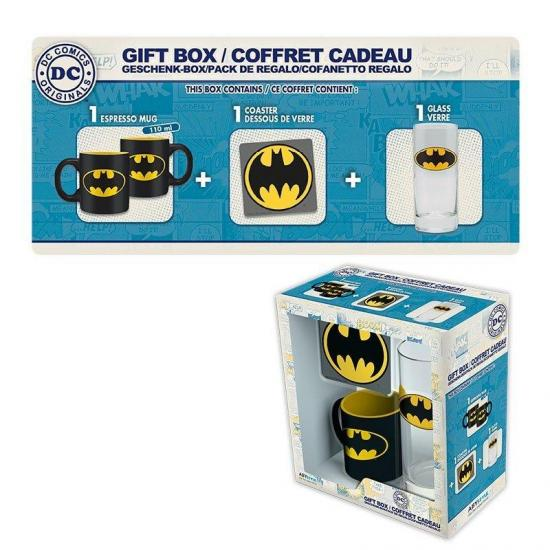 Dc comics coffret cadeau batman glass coaster mini mug 1