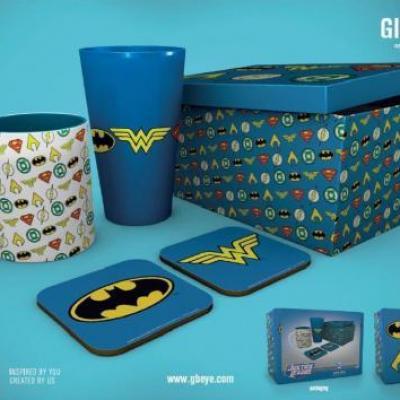 Dc comics gift box chope mug 2 dessous de verre logos