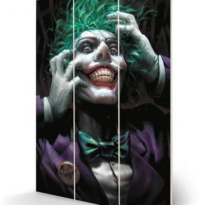 Dc comics joker crazy close up impression sur bois 20x29 5