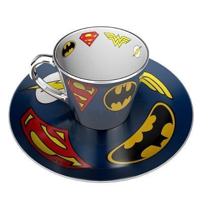 Dc comics logos tasse a cafe miroir et soucoupe