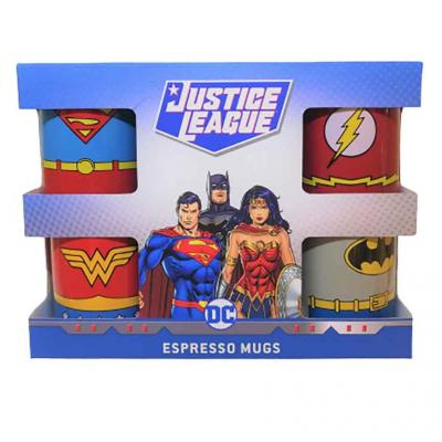 Dc comics set de 4 mini mugs 150ml uniformes