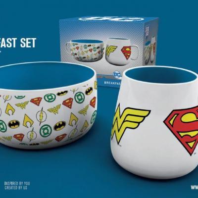 Dc comics set petit dejeuner bol mug logos