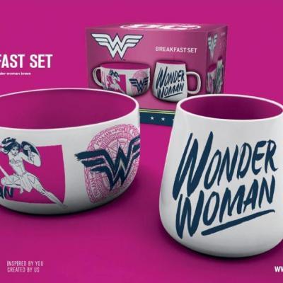 Dc comics set petit dejeuner bol mug wonder woman