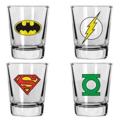 Dc comics shot glass logos