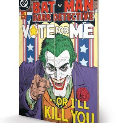Dc comics the joker vote for me impression sur bois 40x59cm