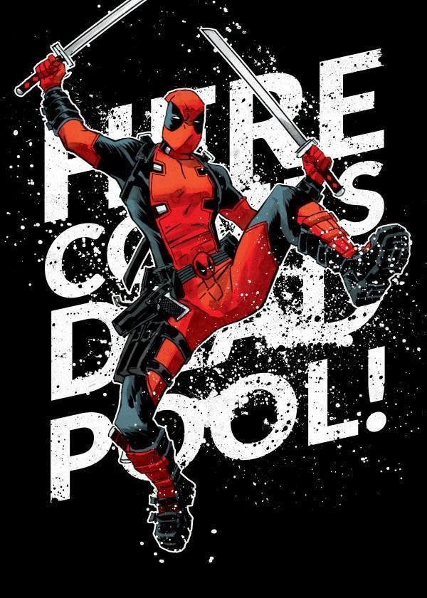 Deadpool merc magnetic metal poster 15x10 here he comes