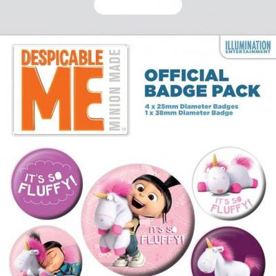 Despicable me pack 5 badges it s so fluffy