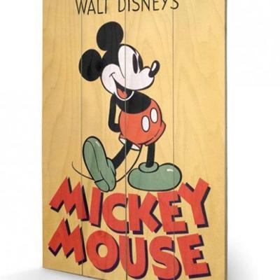 Disney mickey mouse color impression sur bois 40x59cm