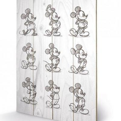 Disney mickey mouse multi black white impression sur bois 40x59c