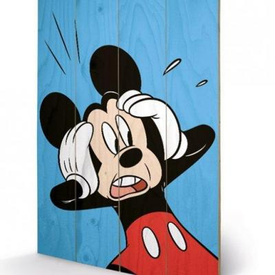 Disney mickey mouse shocked impression sur bois 40x59cm