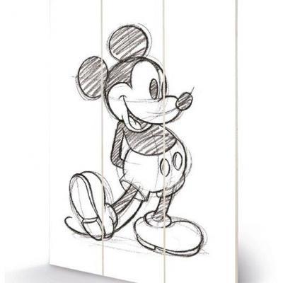 Disney mickey mouse sketched impression sur bois 20x29 5
