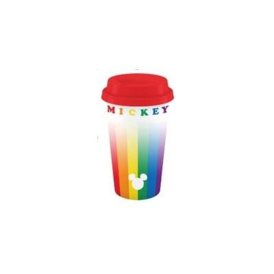 Disney mickey rainbow plastic lidded mug