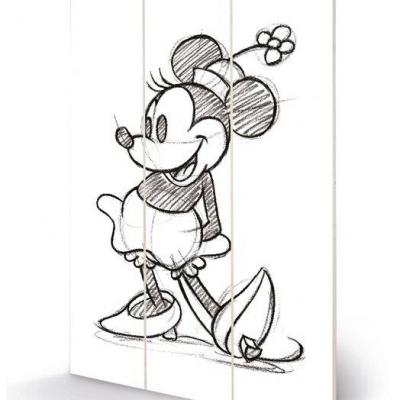 Disney minnie mouse sketched impression sur bois 20x29 5
