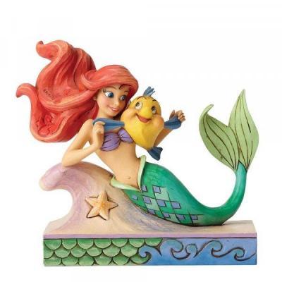 Disney traditions ariel with flounder figurine 13cm