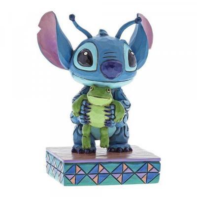 Disney traditions stitch with frog figurine 10cm