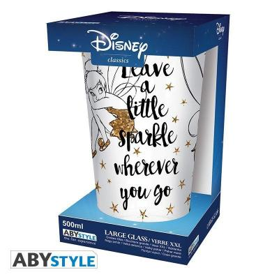 Disney verre xxl 400ml clochette doree paillettes