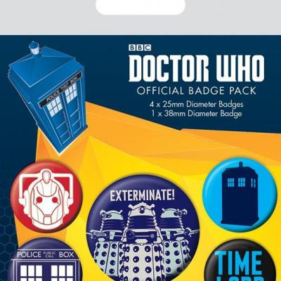 Doctor who pack 5 badges exterminate