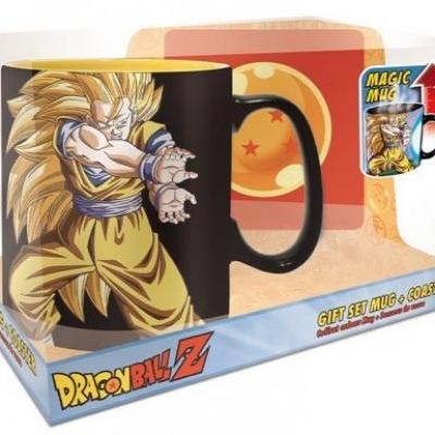 Dragon ball kamehameha set mug thermoreactif 460ml sous verre
