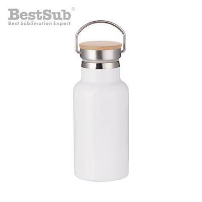 Fre pm bouteille isotherme en acier inoxydable 350 ml avec ecrou en bambou blanc 4194 2