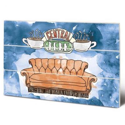 Friends central perk sofa impression sur bois 20x29 5