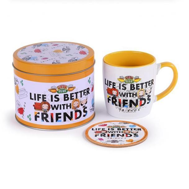 Friends life is better box metal mug sous verre