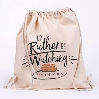 Friends rather be watching sac en toile 100 coton 42x37cm