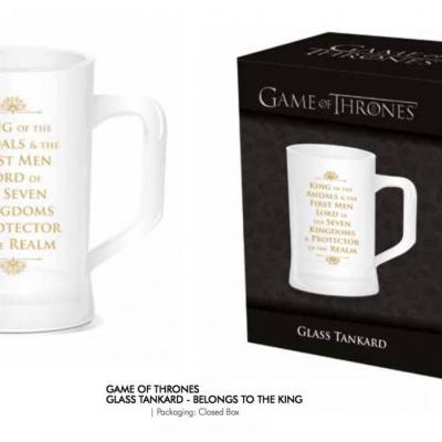 Game of thrones glass tankard belongs to the king