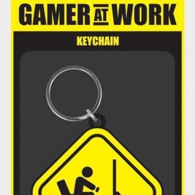 Gamer at work porte cles caoutchouc caution sign