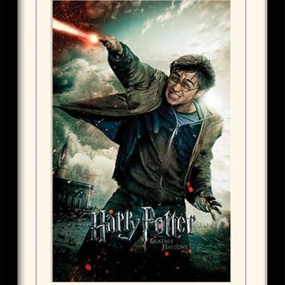 Harry potter deathly hallows wand impression encadree 30x40