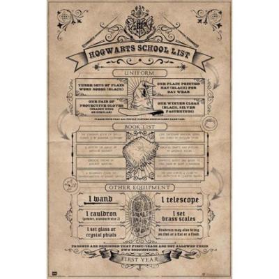 Harry potter hogwarts list poster 61x91 5cm