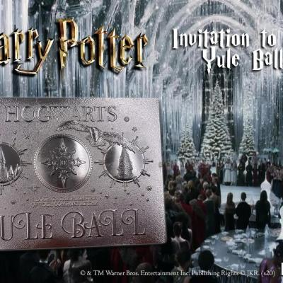 Harry potter invitation bal de noel ticket plaque argent collector
