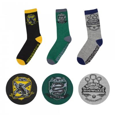 Harry potter lot de 3 paires de chaussettes quidditch taille 37 46